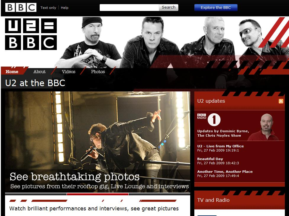U2 on the BBC website